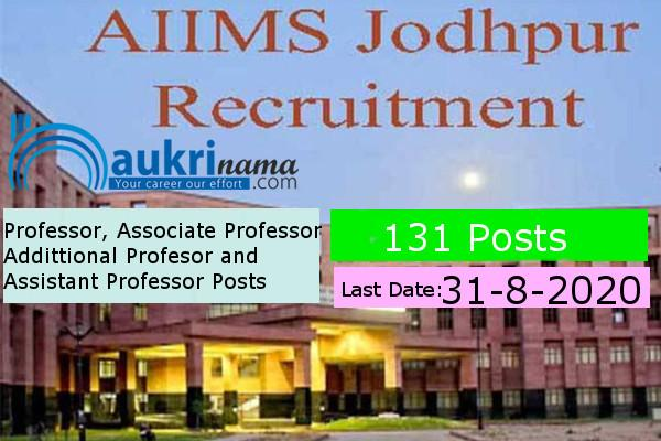 AIIMS Jodhpur Recruitment for the post of   Professor and Co-Professor            , Click here to Apply