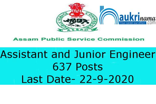 Assam PSC  Recruitment for the post of  Assistant and Junior Engineer      , Apply Now
